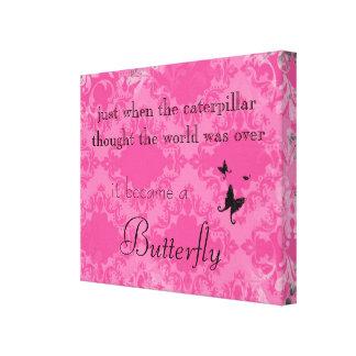 Impresión de la lona de la cita de la mariposa lienzo envuelto para galerías