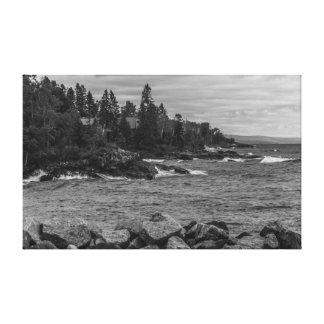 Impresión de la lona de la costa costa B&W del lag Impresiones De Lienzo