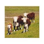 Impresión de la lona de la familia de la vaca impresiones de lienzo