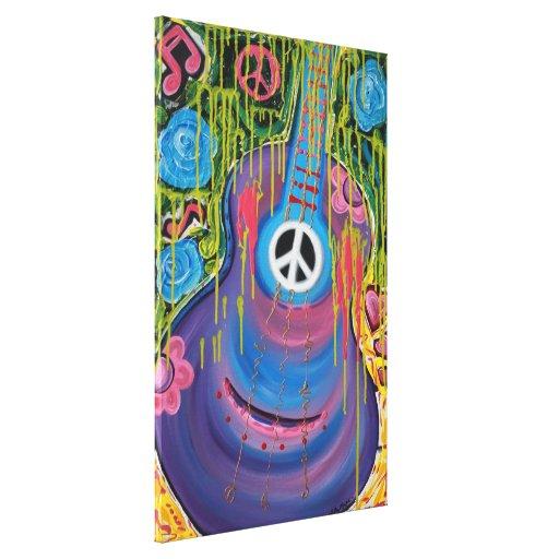 Impresión de la lona de la guitarra de la paz impresión en lona estirada