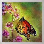 Impresión de la lona de la mariposa de monarca de  poster