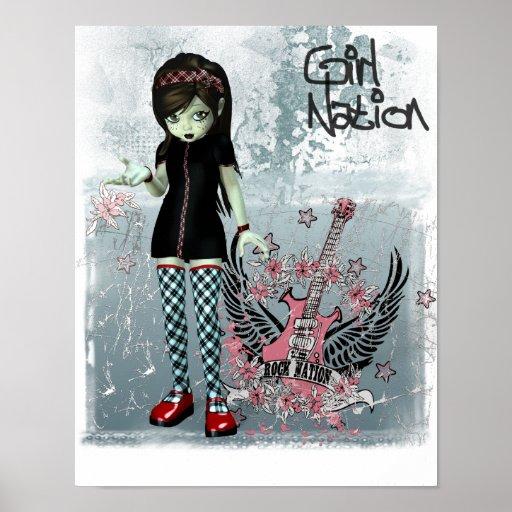 Impresión de la lona de la nación del chica posters