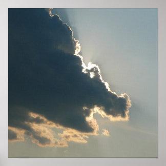 Impresión de la lona de la nube del hipopótamo poster