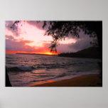 Impresión de la lona de la puesta del sol de Kauai Póster