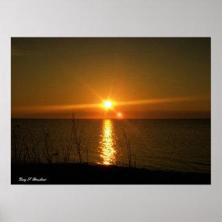 Impresión de la lona de la puesta del sol póster