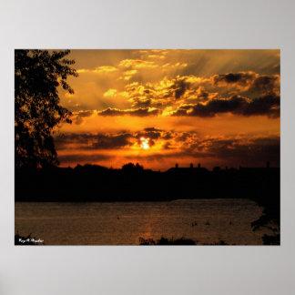 Impresión de la lona de la salida del sol póster