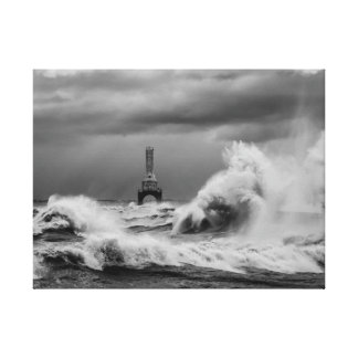 Impresión de la lona de la tormenta B&W del puerto Impresiones De Lienzo