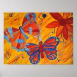 impresión de la lona de las mariposas y de las flo poster
