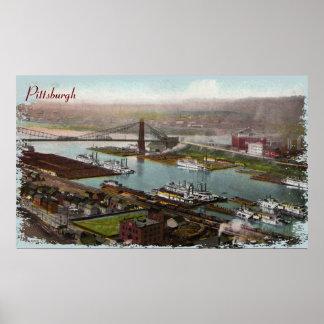 Impresión de la lona de los 1800s de Pittsburgh de Posters