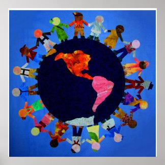 Impresión de la lona de los niños en todo el mundo poster
