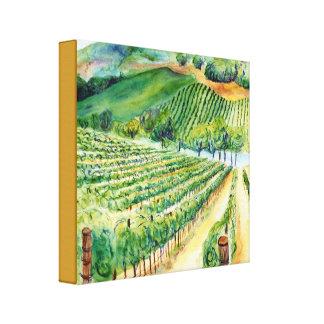 Impresión de la lona de pintura del viñedo del