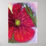 Impresión de la lona de una flor roja pintada posters