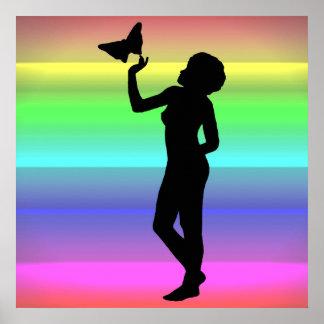 Impresión de la lona de Woman2 NeonRainbow Poster