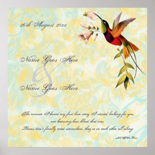 Impresión de la lona del boda del colibrí del póster