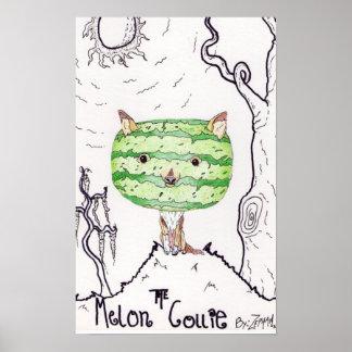 Impresión de la lona del collie del melón poster