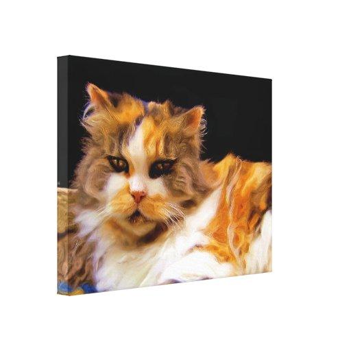Impresión de la lona del gato de calicó impresiones en lona estiradas