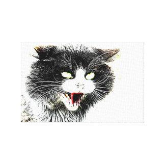 Impresión de la lona del gato del zombi lienzo envuelto para galerías