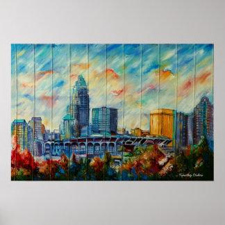Impresión de la lona del horizonte de Charlotte, C Posters