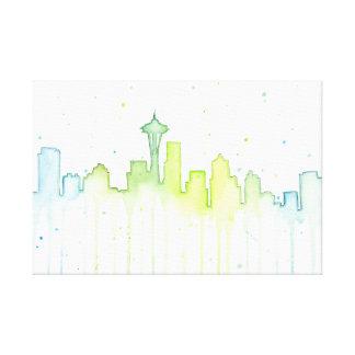 Impresión de la lona del horizonte de Seattle Impresión En Tela