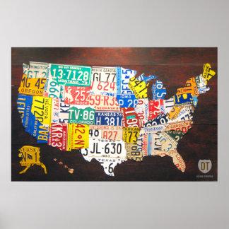 Impresión de la lona del mapa de la placa de Estad Póster
