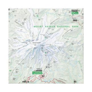 Impresión de la lona del mapa del Monte Rainier Lona Estirada Galerías