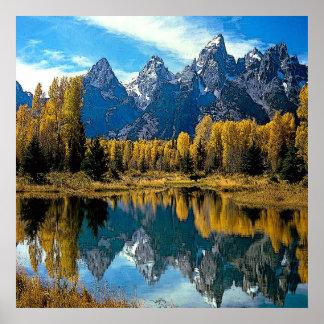 Impresión de la lona del paisaje del lago póster