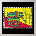 Impresión de la lona del paseo del elefante poster