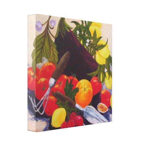 Impresión de la lona del relevo de las frutas y de impresiones en lienzo estiradas
