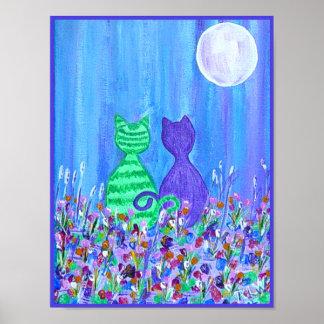 Impresión de la lona - gatos en el claro de luna poster