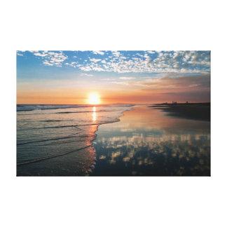 Impresión de la lona - puesta del sol en la playa  impresión en lienzo estirada
