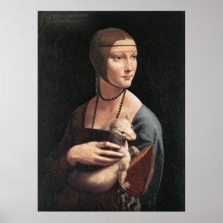 Impresión de la lona - señora con un armiño póster