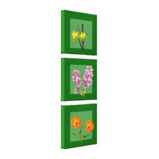 Impresión de la lona - tríptico botánico impresión en lona estirada