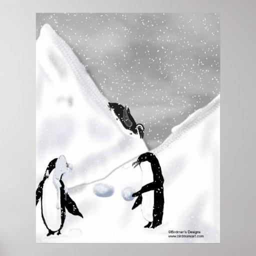 Impresión de la lucha de la bola de nieve del ping póster