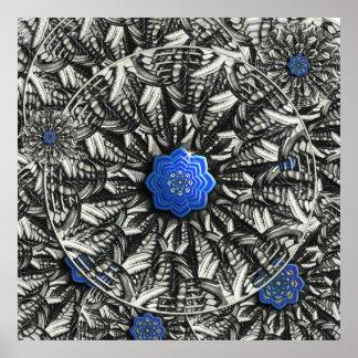 impresión de la mandala de 3D Lotus azul Póster