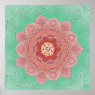 Impresión de la mandala de Lotus de la camelia Póster