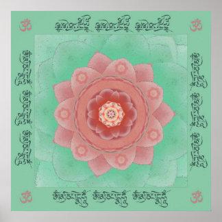 Impresión de la mandala del mantra de Lotus de la  Póster