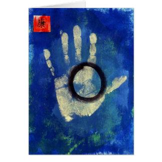 Impresión de la mano de la salud tarjeta de felicitación