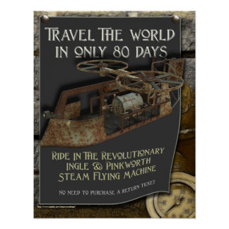 Impresión de la máquina de vuelo de Steampunk Póster