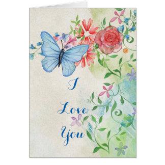 Impresión de la mariposa de la acuarela del tarjeta de felicitación