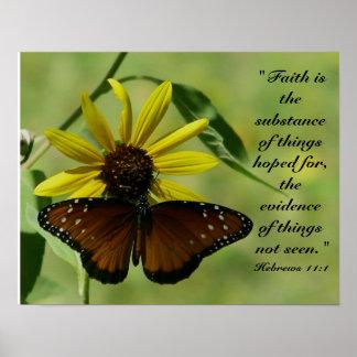 Impresión de la mariposa del 11:1 de los hebreos póster
