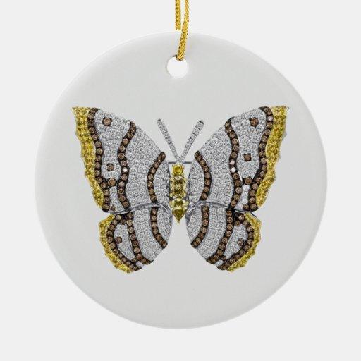 Impresión de la mariposa del diamante adorno redondo de cerámica