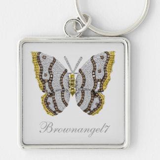 Impresión de la mariposa del diamante llavero cuadrado plateado