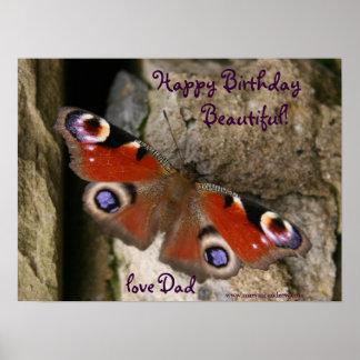Impresión de la mariposa del feliz cumpleaños posters