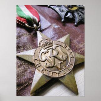 Impresión de la medalla de la estrella de Italia Poster