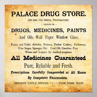 Impresión de la muestra de la farmacia del vintage póster