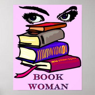 Impresión de la mujer del libro poster