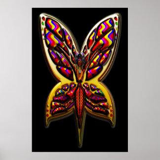 Impresión de la mujer tres C de la mariposa Posters