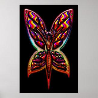Impresión de la mujer tres E de la mariposa Poster