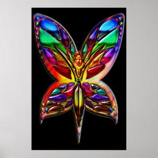 Impresión de la mujer una de la mariposa impresiones