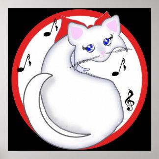 Impresión de la música del gatito de Bianca Toon Poster